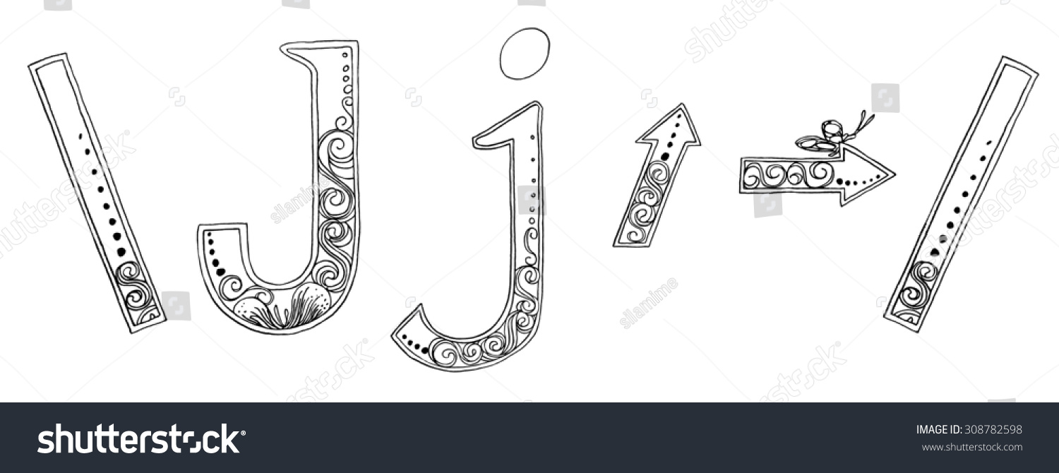Calligraphy Designs Freehand Pencil Sketch Scan Stock Illustration
