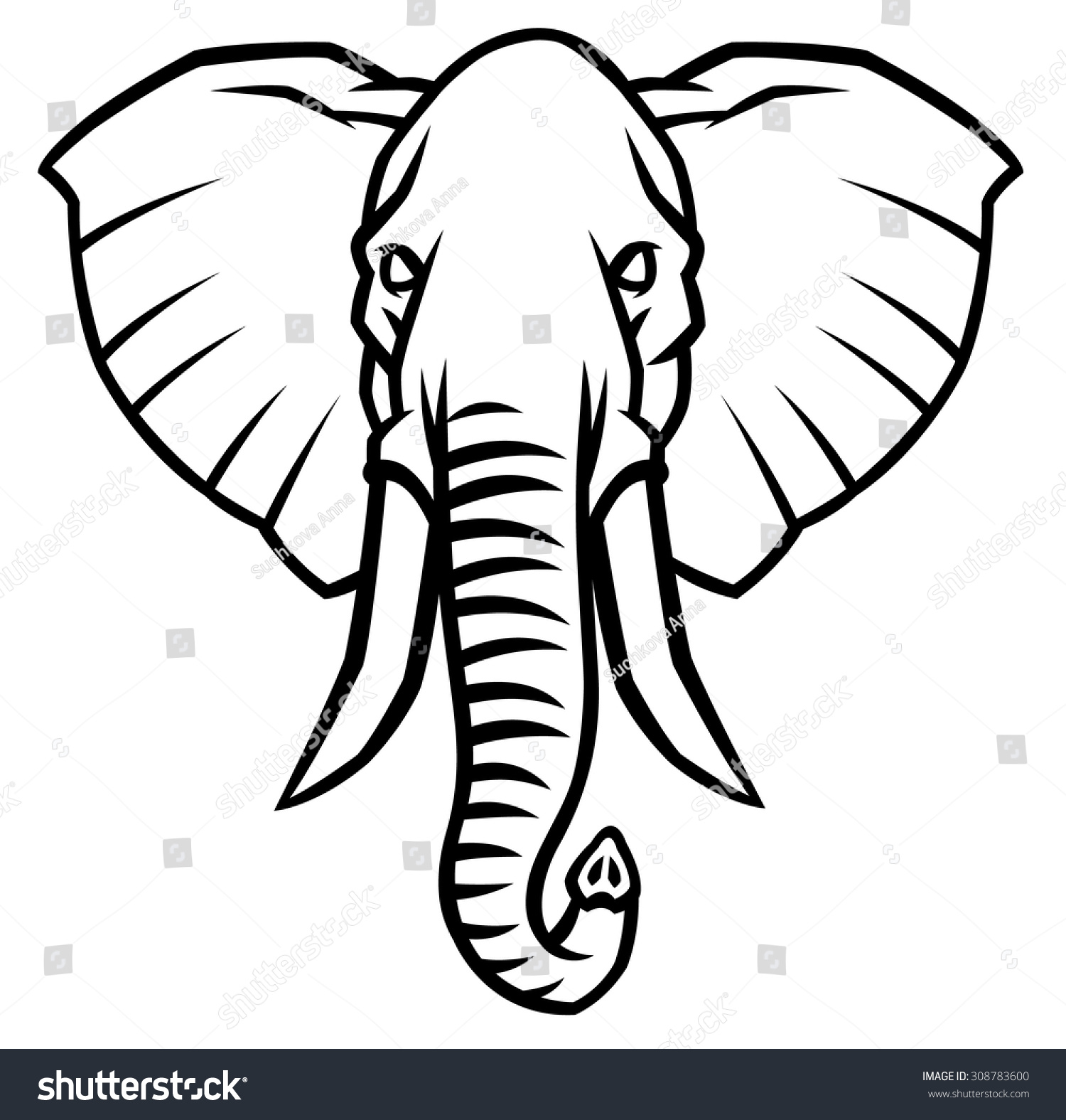 head of an elephant with large tusks - vector illustration for logo ...