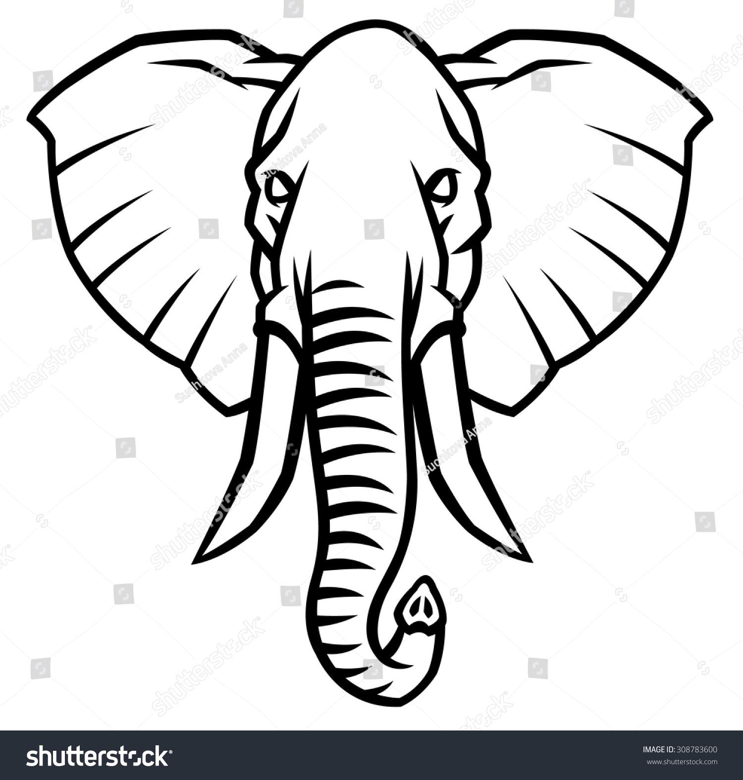 Head Elephant Large Tusks Vector Illustration Stock Vector 308783600 ...