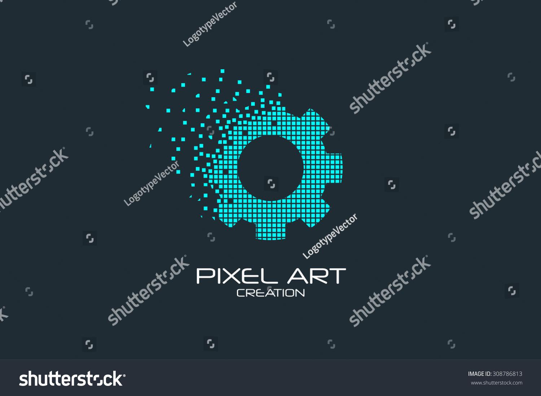 Pixel Art Design : Pixel art design gear logo stock vector