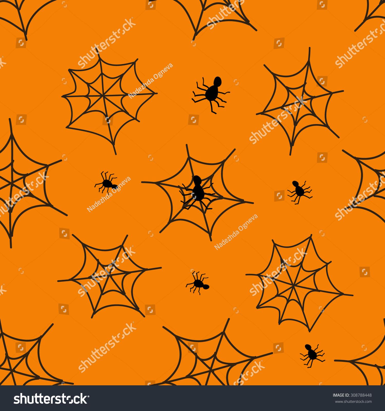Simple Wallpaper Halloween Spider - stock-vector-halloween-black-spider-web-pattern-orange-background-seamless-vector-texture-for-textile-308788448  Snapshot_955353.jpg