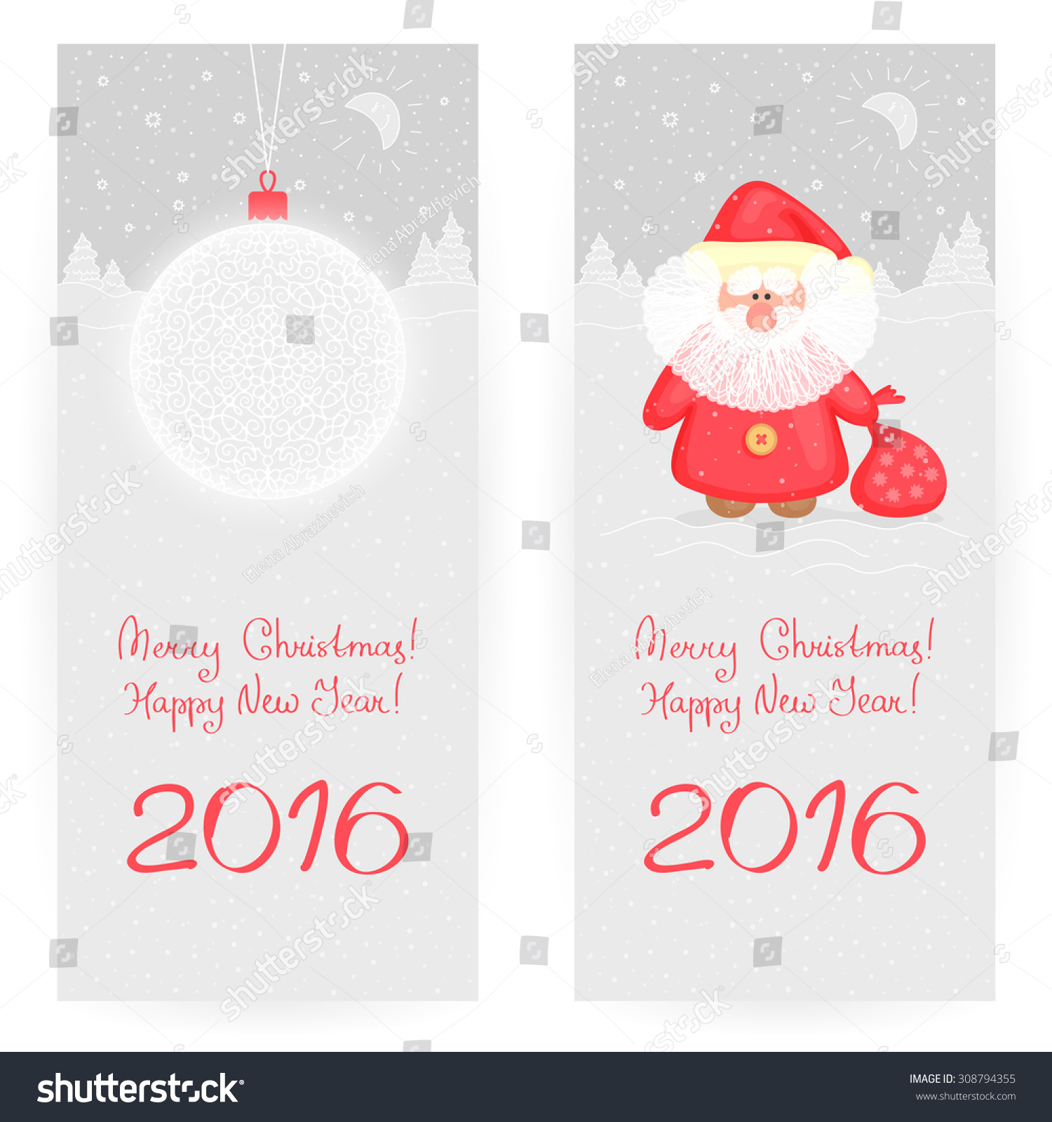 Two Festive Greeting Cards Grayandred Colors Stock Vector Royalty