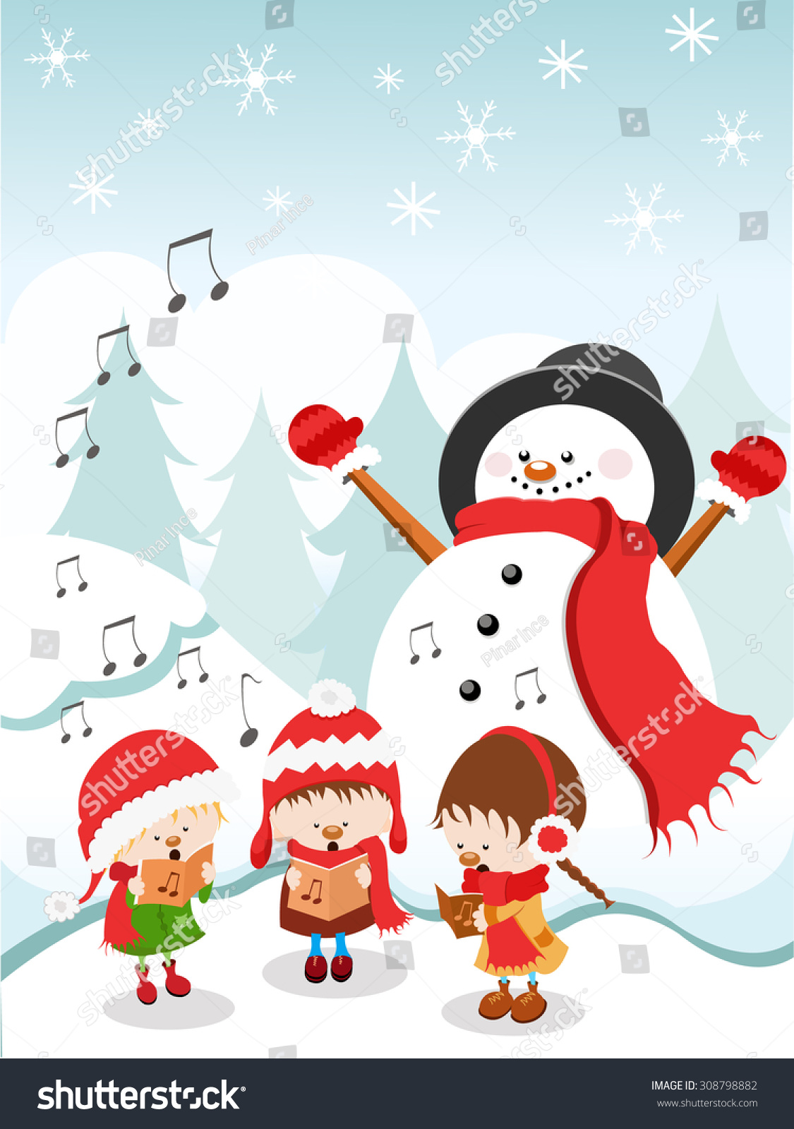 Kids Singing Christmas Songs Stock Vector (Royalty Free) 308798882 ...