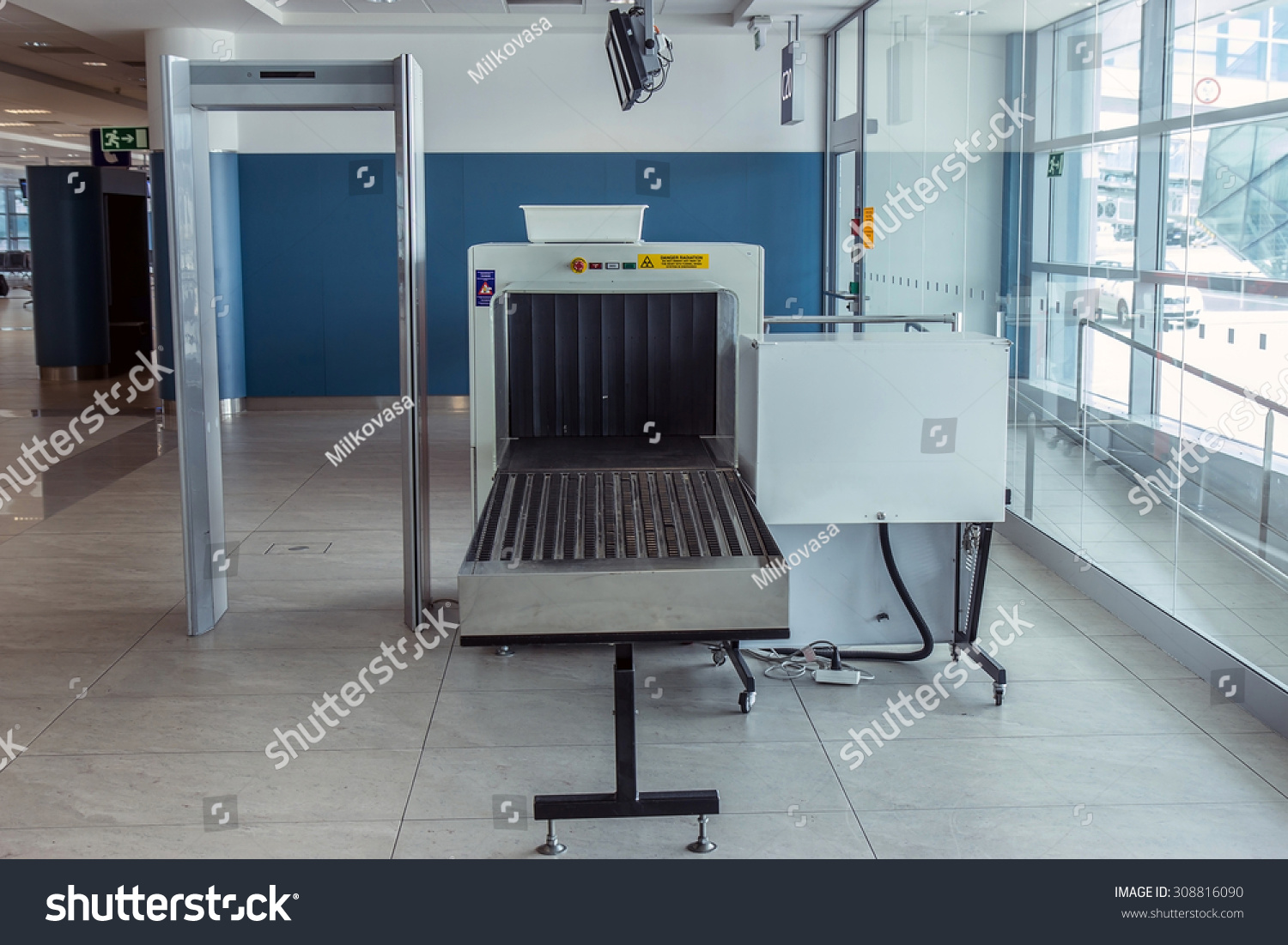 Royalty free airport security metal detector scan
