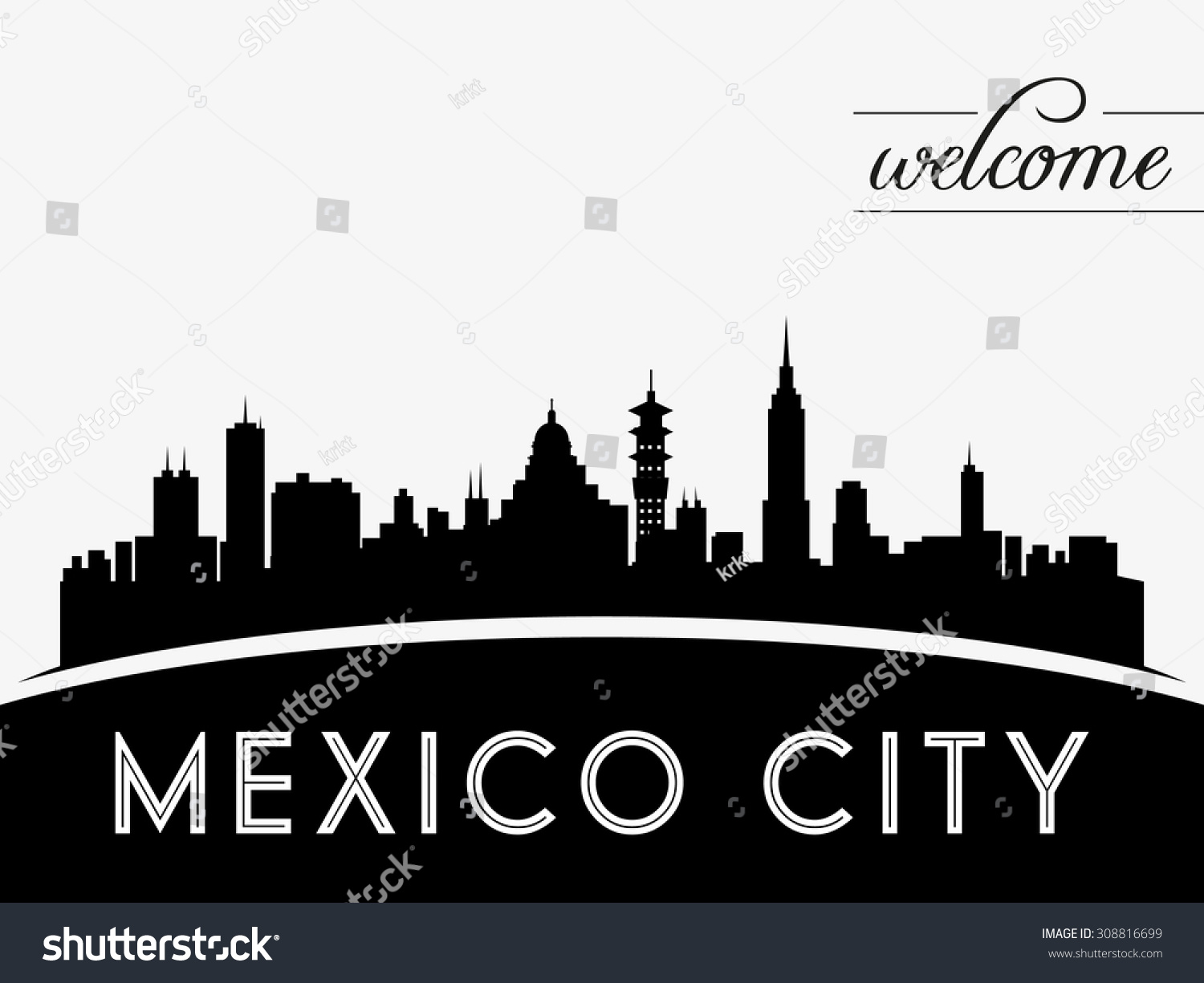Mexico City Skyline Silhouette Black White Stock Vector