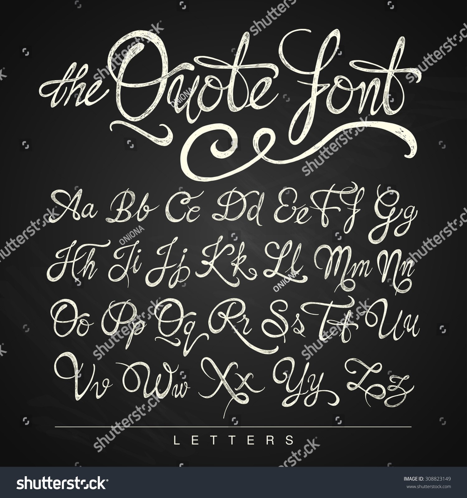 Handwritten calligraphy quote font letters white stock