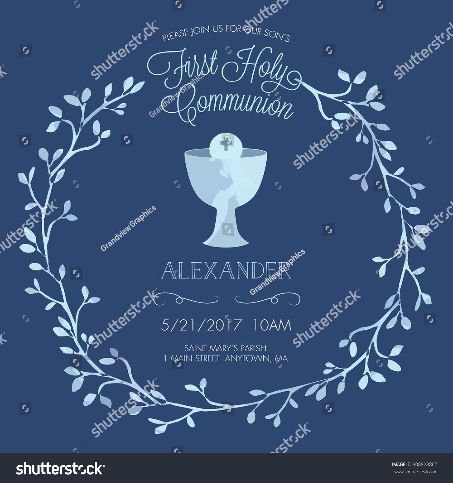 free printable confirmation invitations template - blue boys first holy communion invitation stock vector