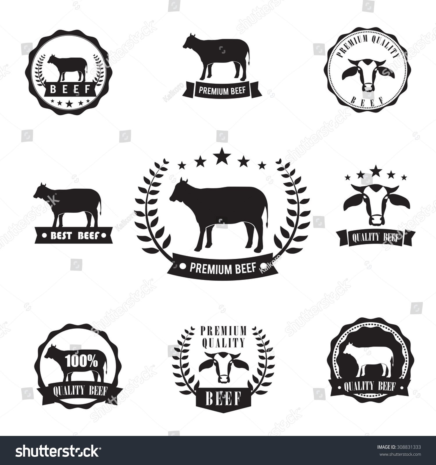 Cow beef sihouette symbol logo stamp stock vector 308831333 cow beef sihouette symbol for logo stamp design element vector illustration buycottarizona