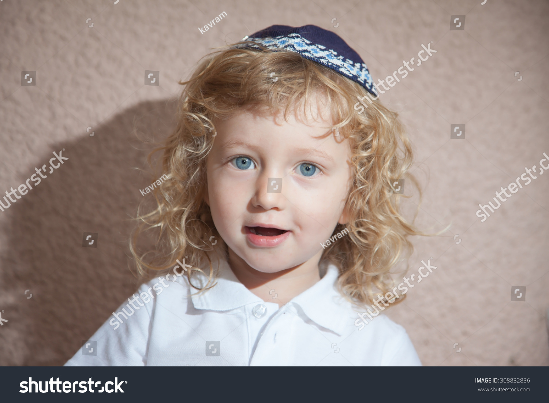 Charming Little Boy Blue Eyes Long Stock Photo 308832836