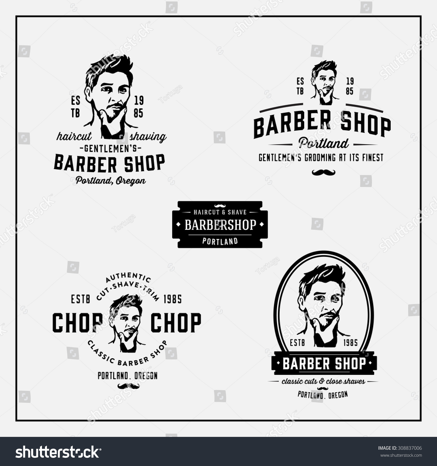 Antique barber shop sign - Set Of Retro Vintage Barber Shop Emblems Labels Logos Badges Signs And Design