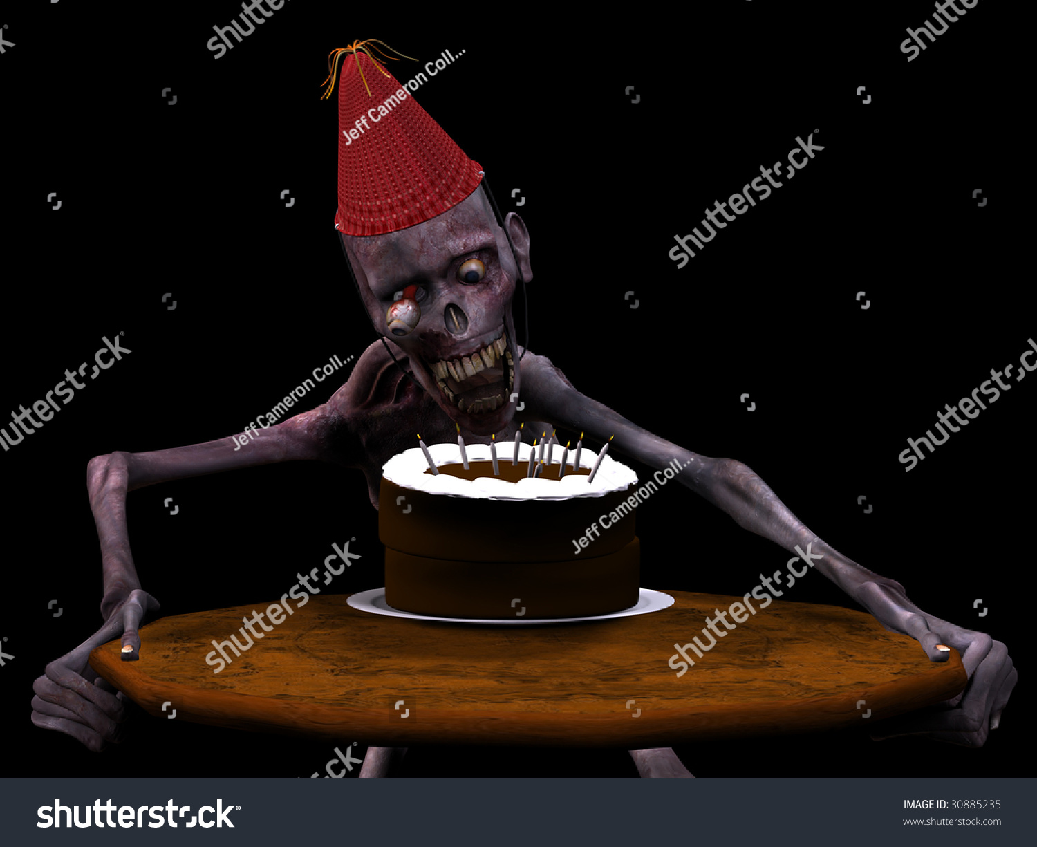 Undead Zombie Blowing Out Candles On A Birthday Cake Isolated Black Background