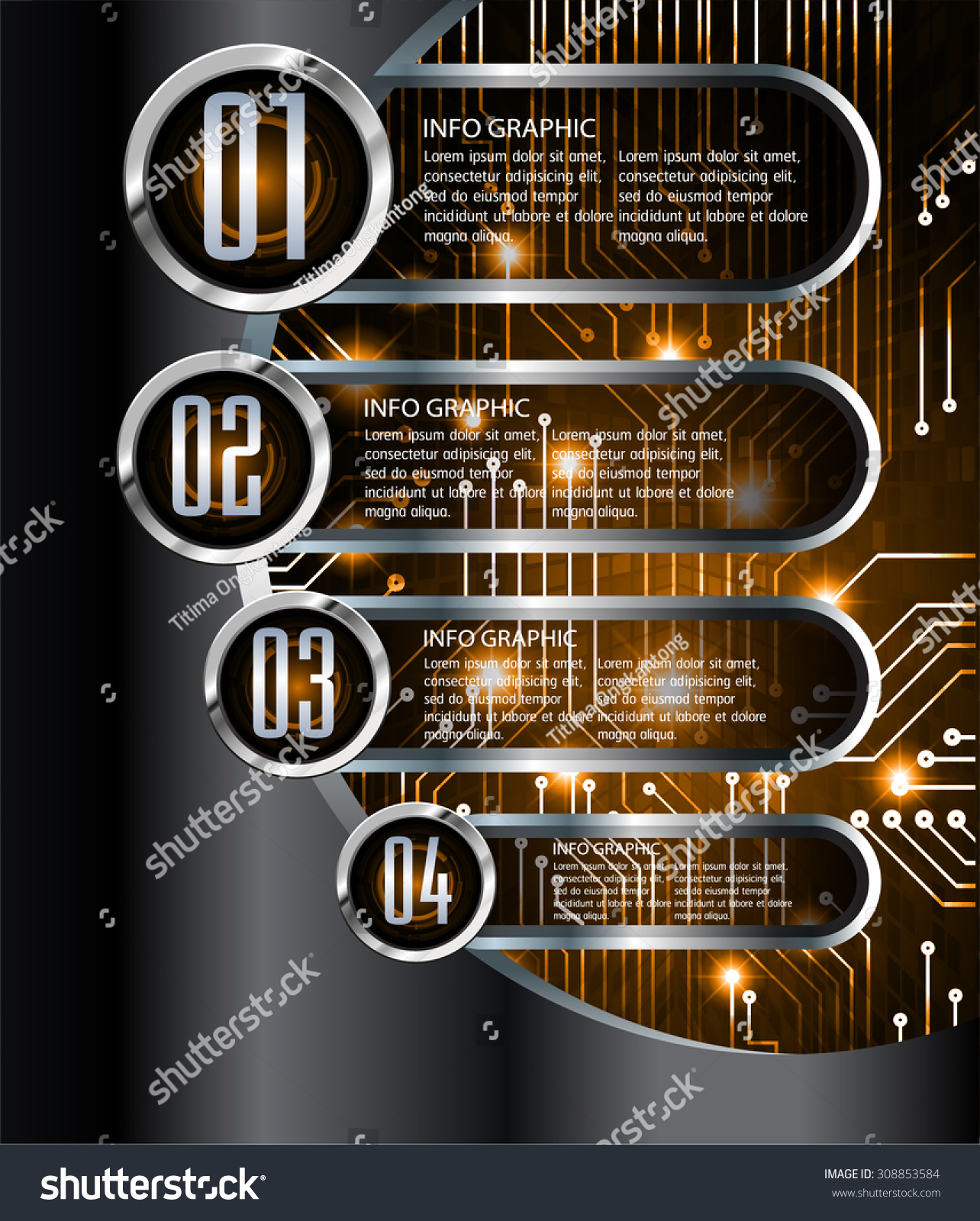 Dark Orange Silver Black Web Design Stock Vector (Royalty Free
