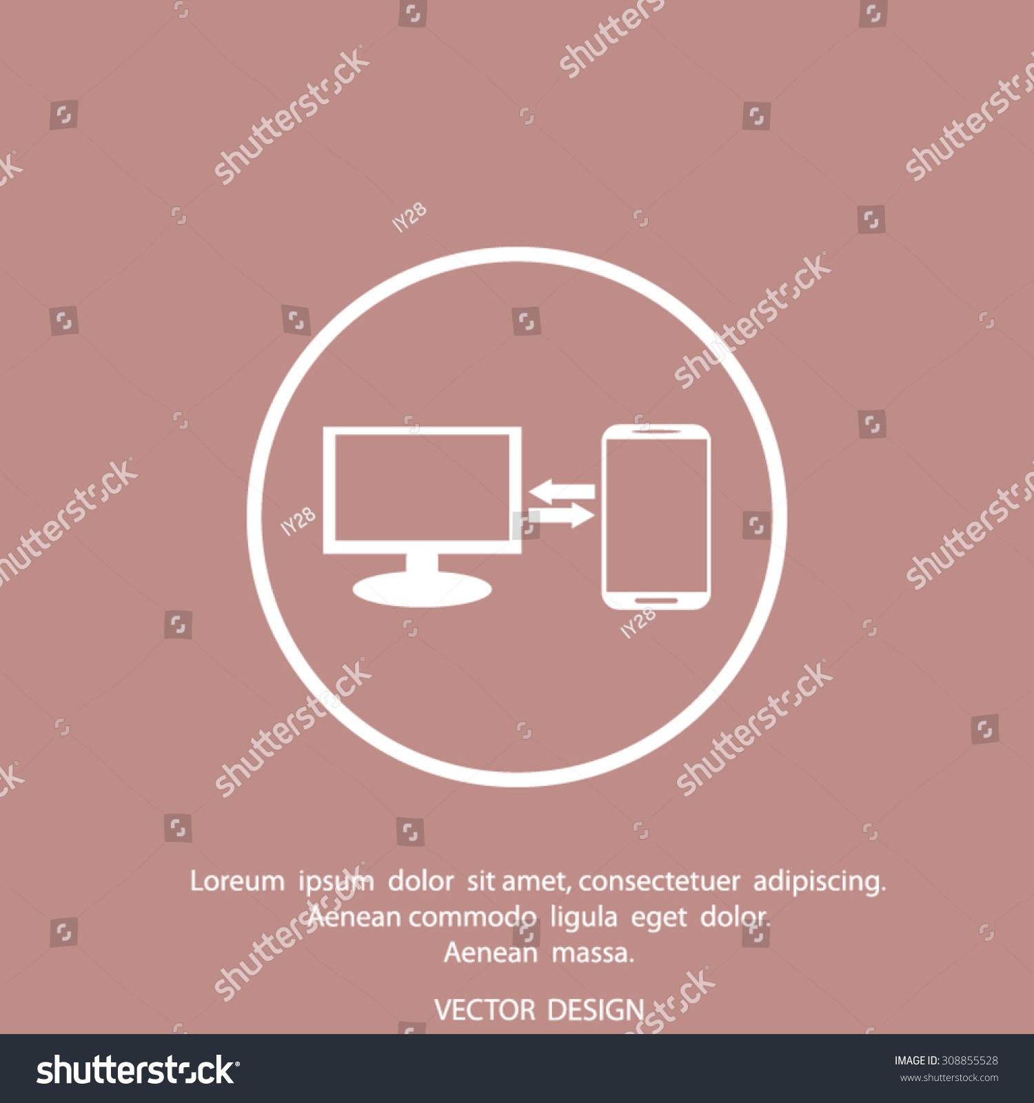 Synchronization vector icon computer phone sync stock vector computer with phone sync symbol data exchange icon biocorpaavc