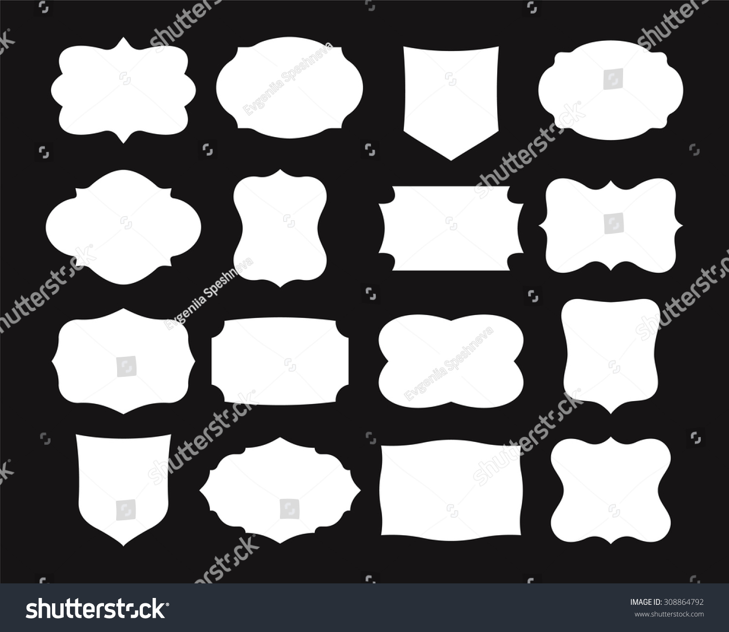Set Simple Frames Collection Label Shapes Stock Vector ...