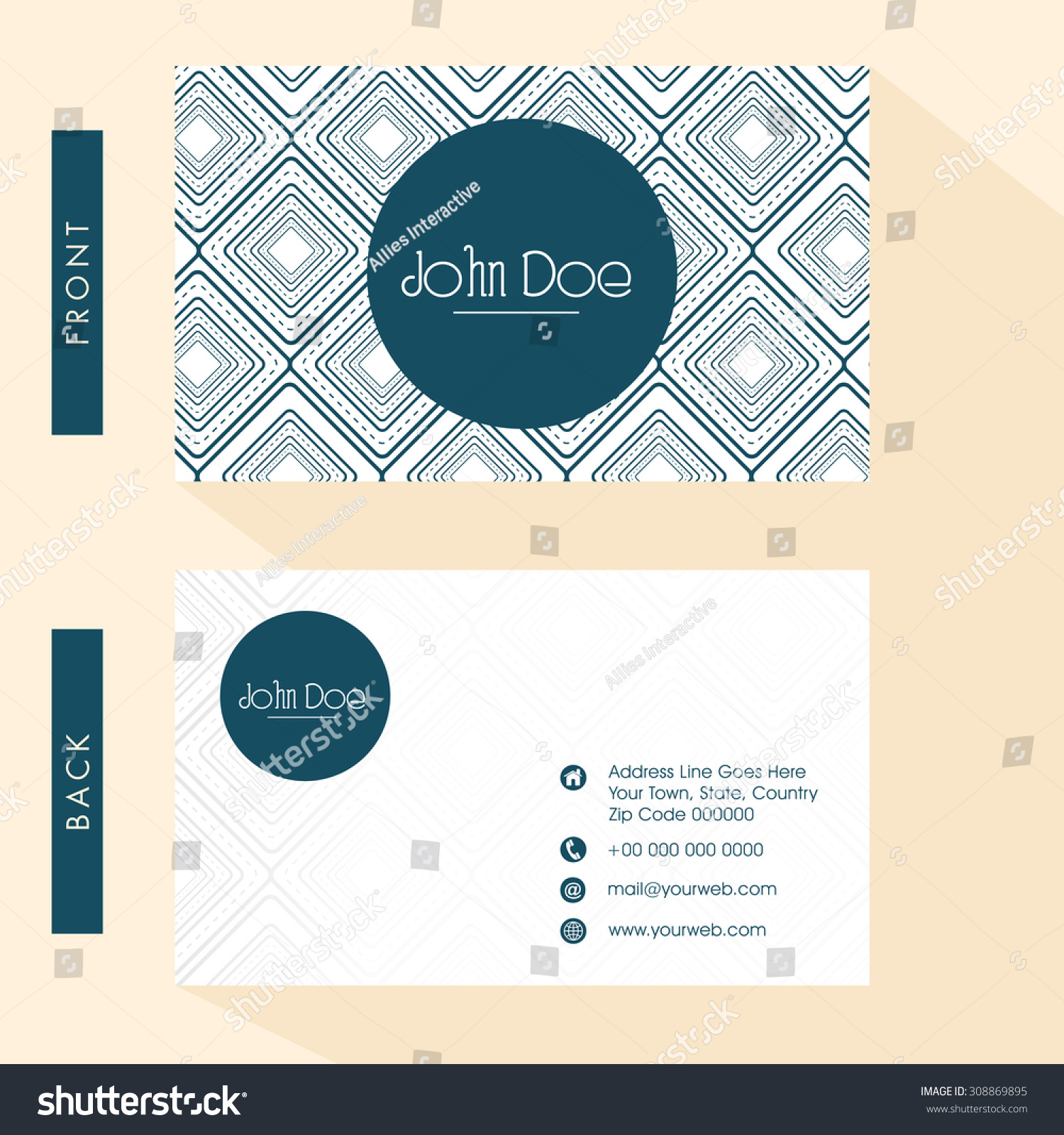 Floral Design Decorated Business Card Visiting Stock Vector ...