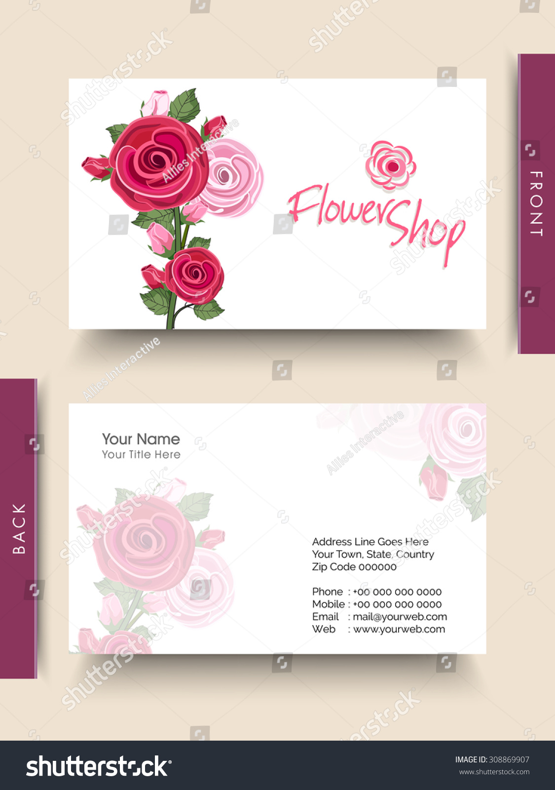 Beautiful Fresh Flowers Decorated Business Card Stock Photo (Photo ...