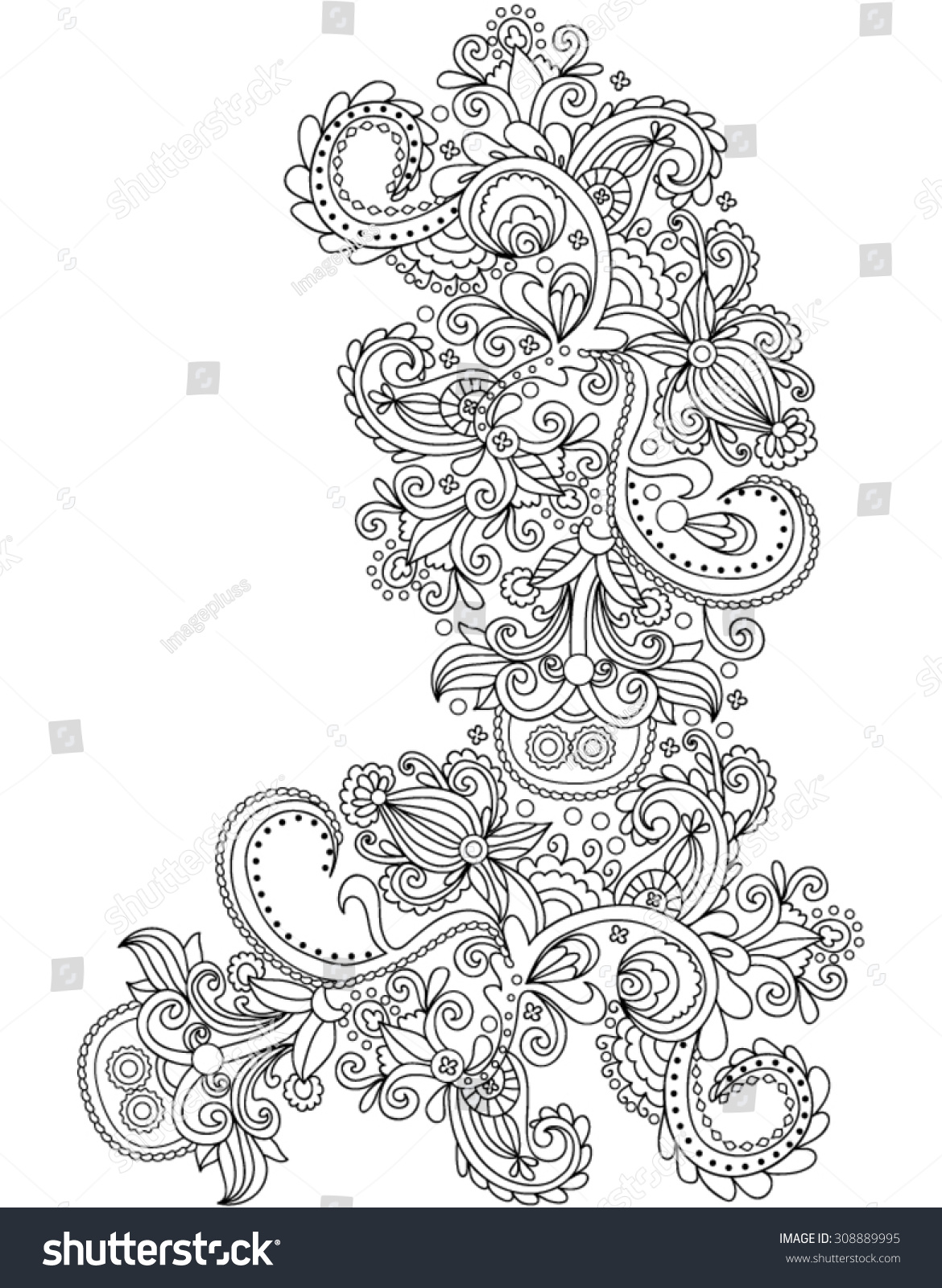 handdrawn henna abstract mandala flowers paisley stock vector