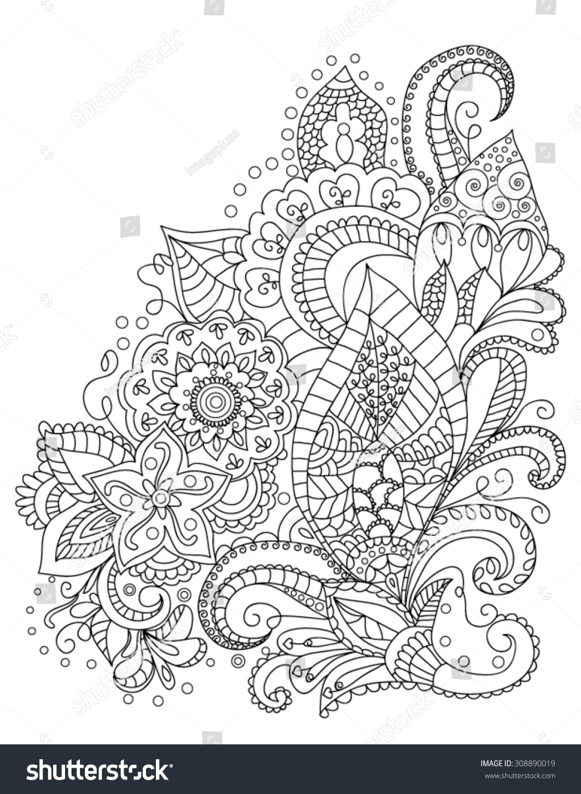 Coloring pages henna - Henna Flower Coloring Pages 2