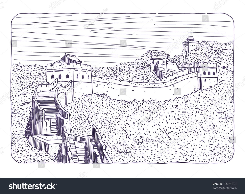 Coloring sheet great wall of china - Great Wall Of China Vector Drawing
