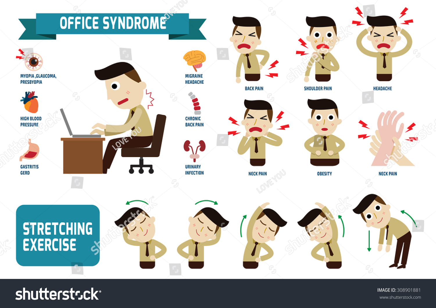 Office Syndrome Infographics Health Concept Infographic