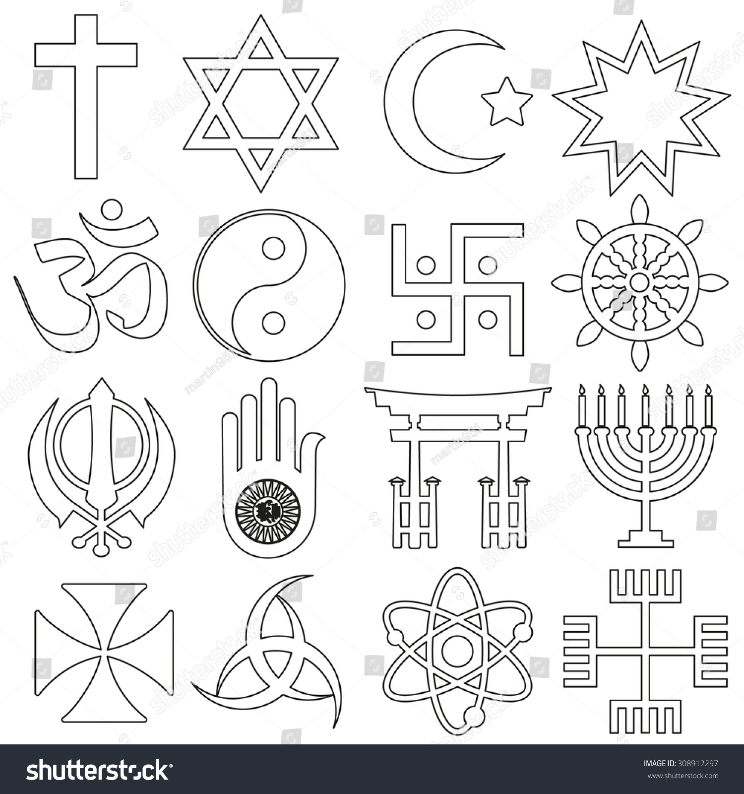 Royalty Free World Religions Symbols Vector Set Of 308912297 Stock