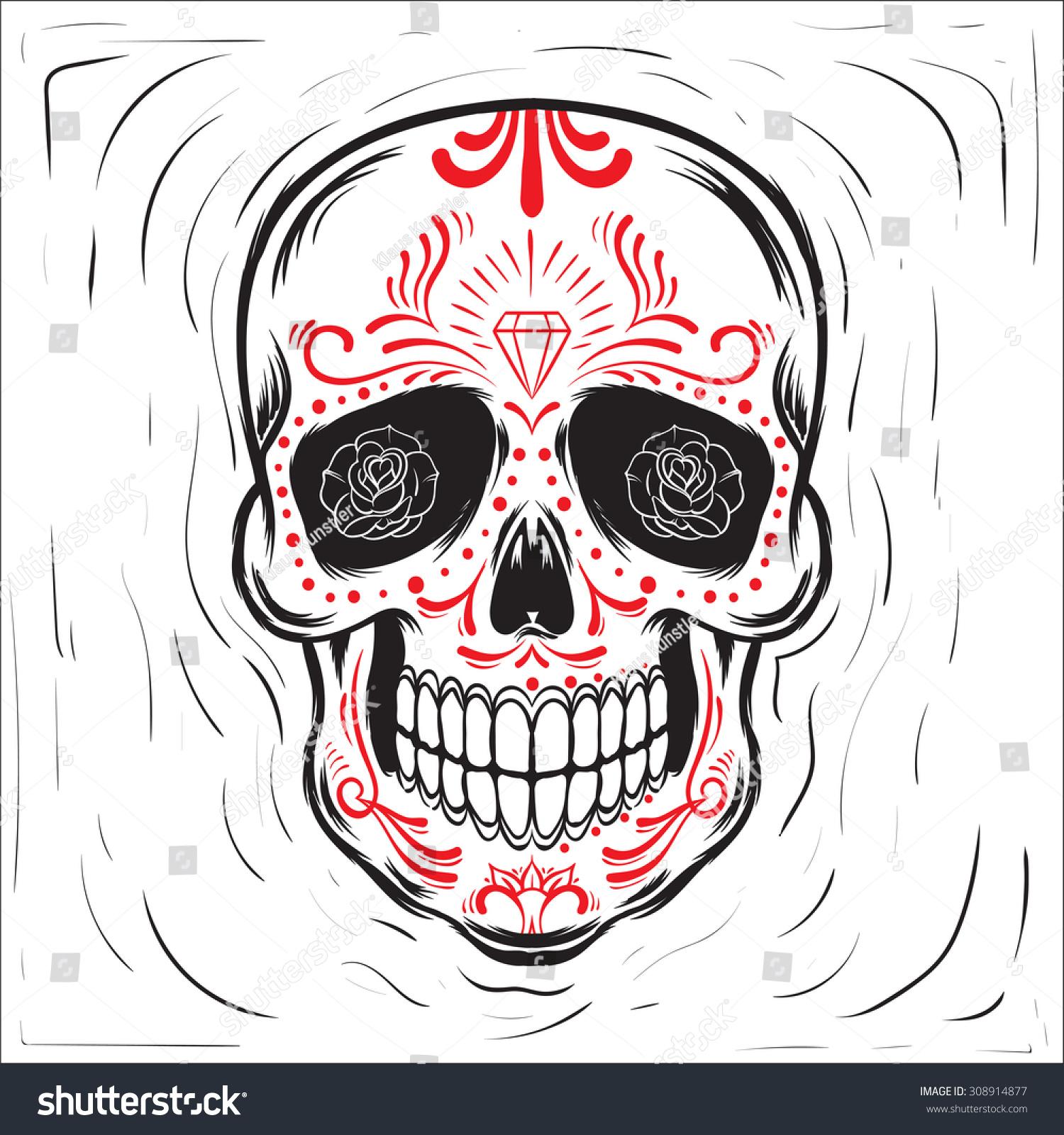 Mexican Sugar Skull Dia De Los Muertos Day Of The Dead Block