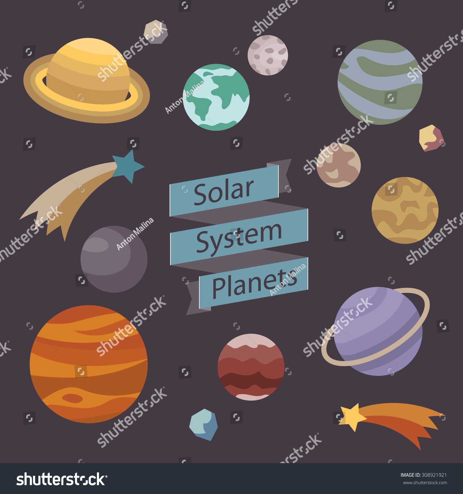 Solar System Planets Vector Illustration On Stock Vector ...