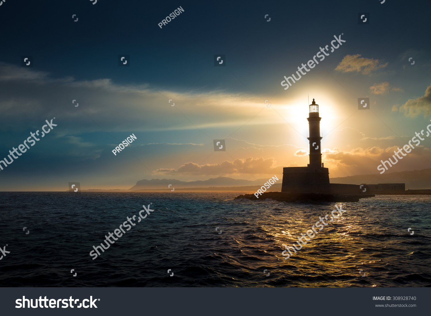 Lighthouse on sunset. #308928740