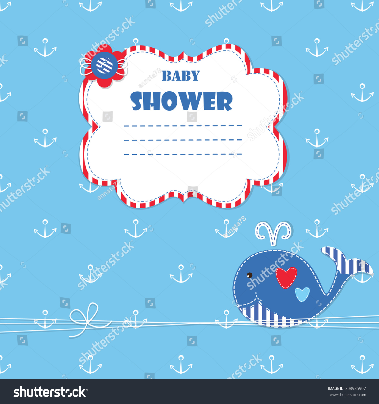 Baby Background Cute Whale Baby Shower Stock Vector HD (Royalty Free ...