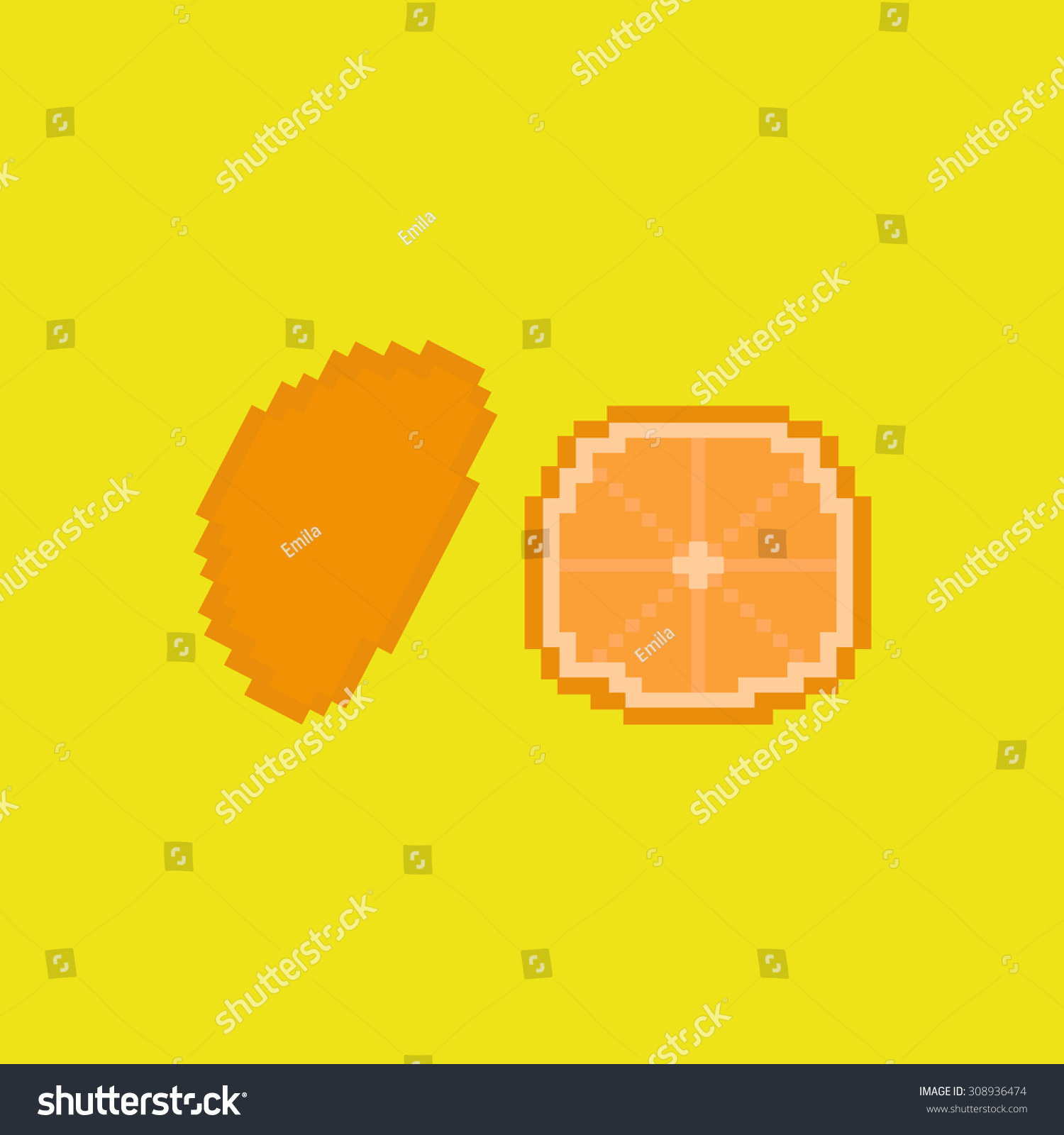 Orange Fruit Pixel Art Style Stock Vector Royalty Free