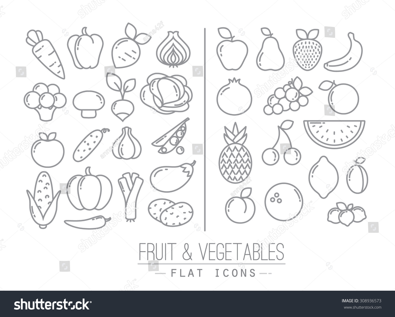 Set of flat fruits and vegetables icons drawing with black lines on white background #308936573