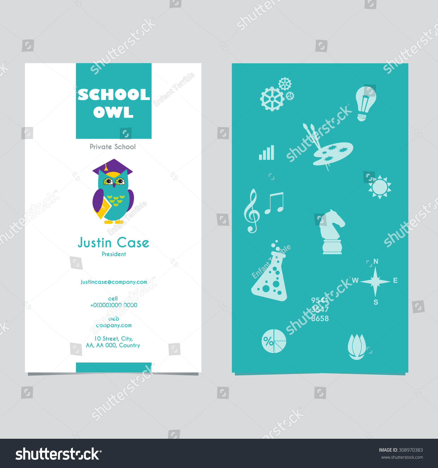Owl Graduate Hat Holding Book Educational Stock Vector - Kid business card template