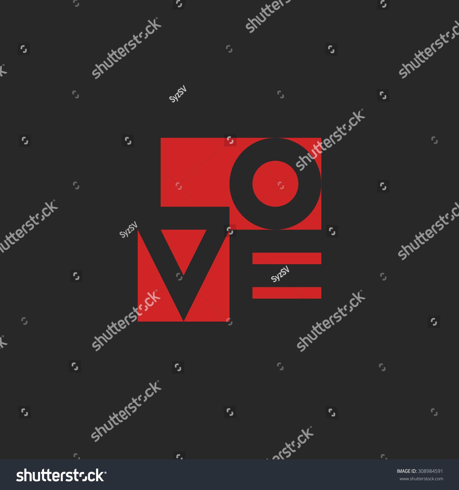 Love Word Mockup Print Black Red Stock Vector 308984591