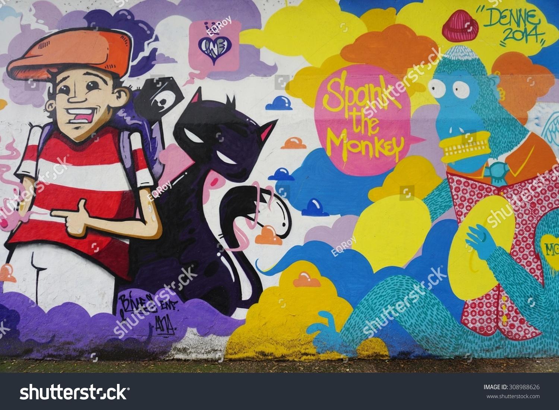 RIO DE JANEIRO BRAZIL 25 JULY 2015- Graffiti street art murals line the streets and back alleys of Rio de Janeiro especially in the Santa Teresa and Lapa neighborhoods
