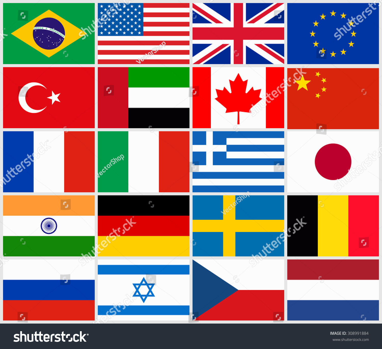 Set Popular Country Flags Stock Vector 308991884 - Shutterstock