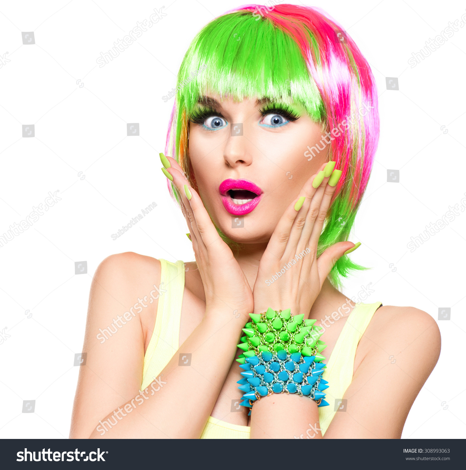 Surprised Beauty Fashion Model Girl Colorful Stock Photo - Haircut girl model