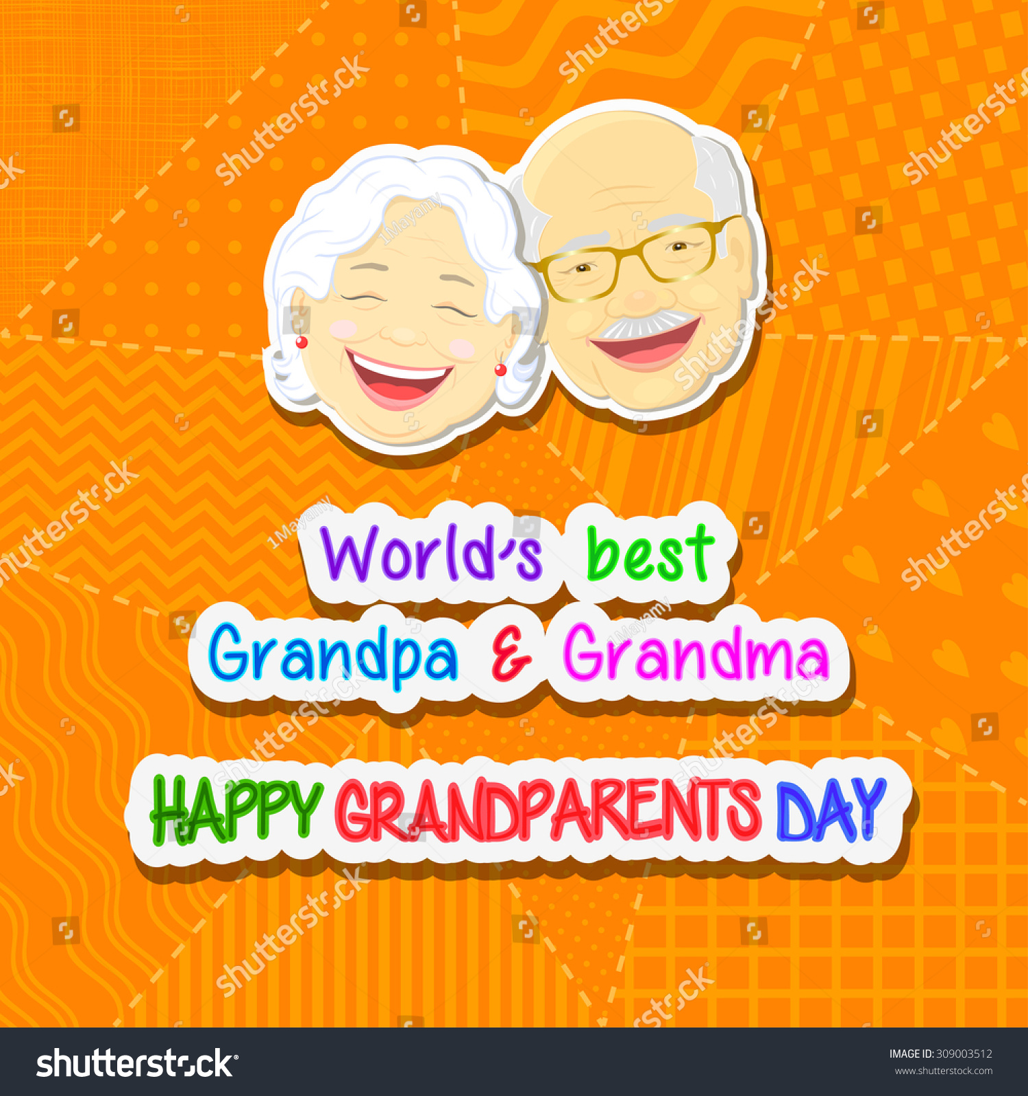Greetings on grandparents day phrase face stock vector 309003512 greetings on grandparents day with the phrase and face of grandfather and grandmother on a yellow kristyandbryce Gallery
