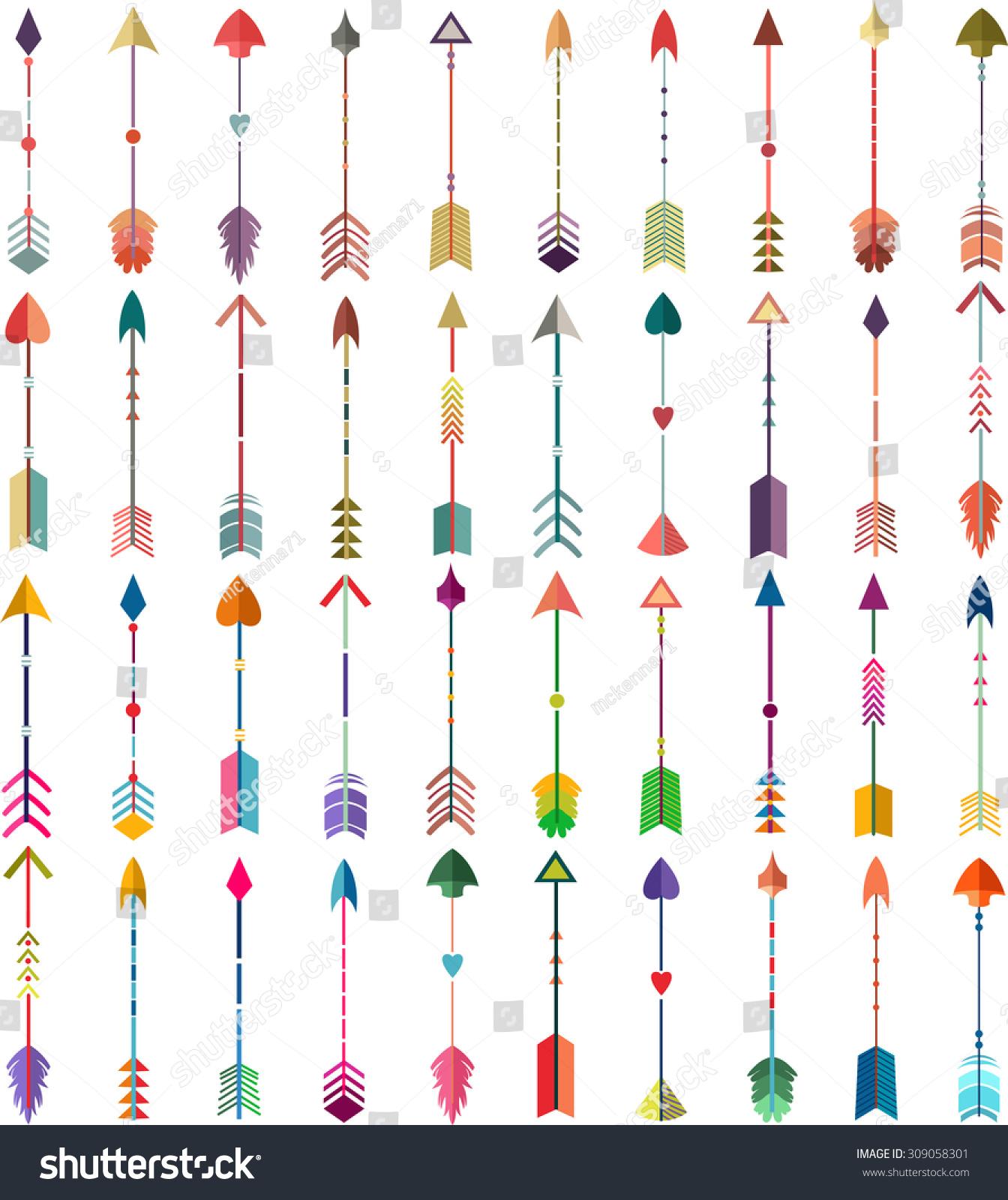 Arrows Vector Set Of 40 Colorful/Vintage Tribal Arrows ...