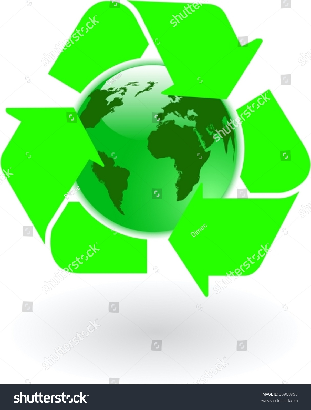 Vector green world globe recycling symbol stock vector 30908995 the vector green world globe with recycling symbol buycottarizona Image collections
