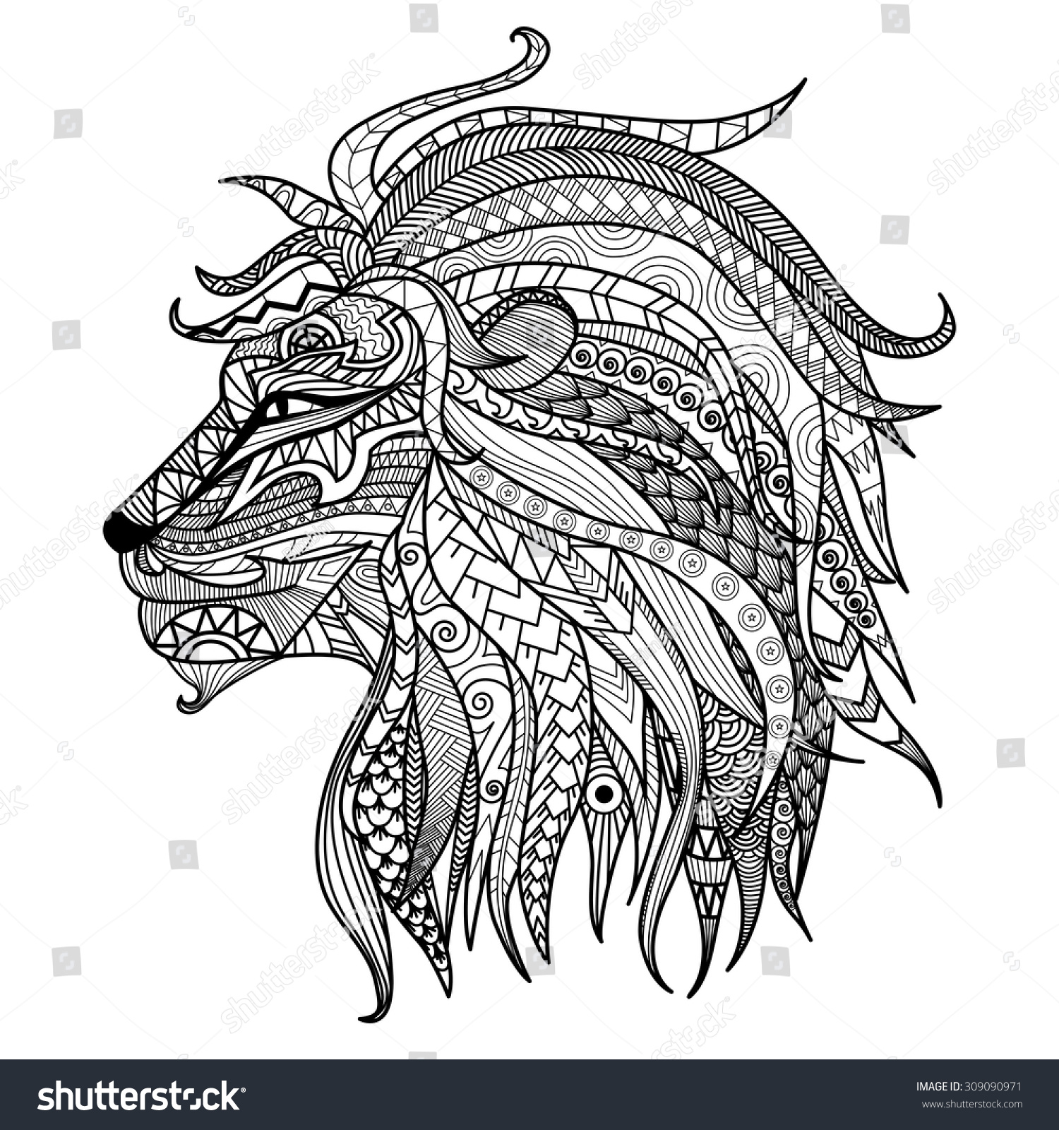 Lion head coloring pages - Hand Drawn Lion Coloring Page Stock Vector
