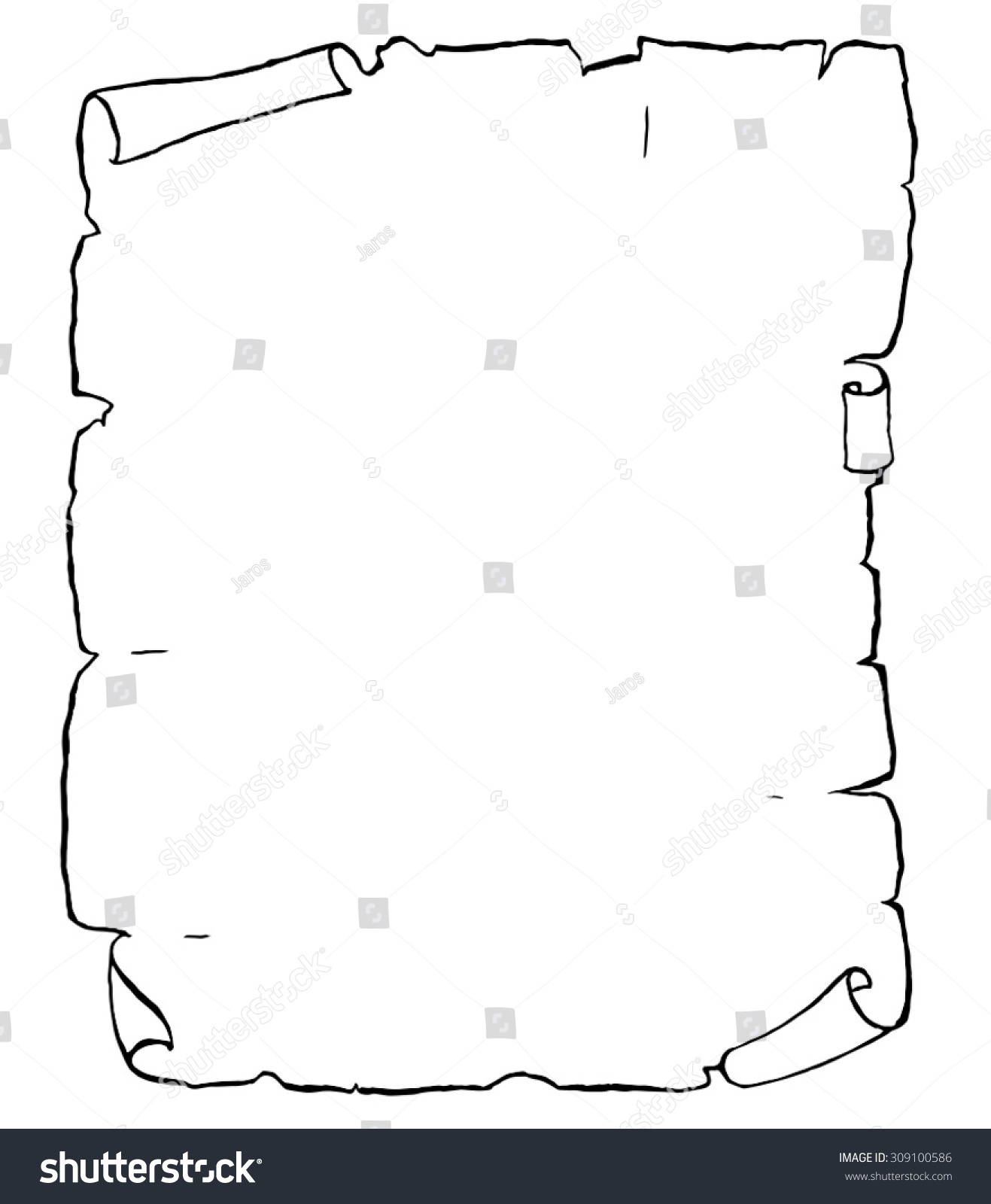 Old Paper Blank Manuscript Template Vector Stock Vector 309100586 ...