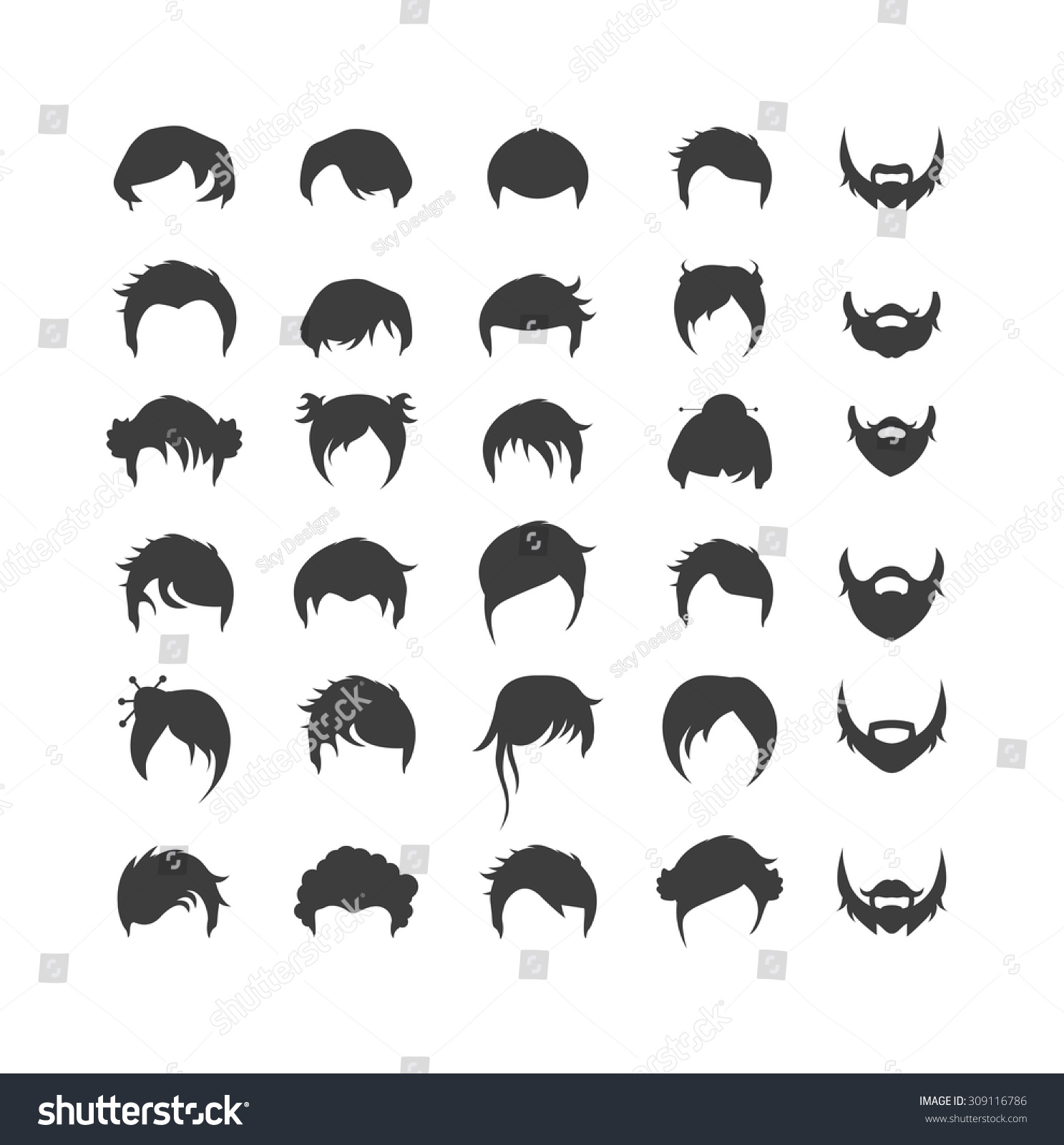 Hair Style Icons : Hair Style Icons 6 Stock Vector Illustration 309116786 : Shutterstock