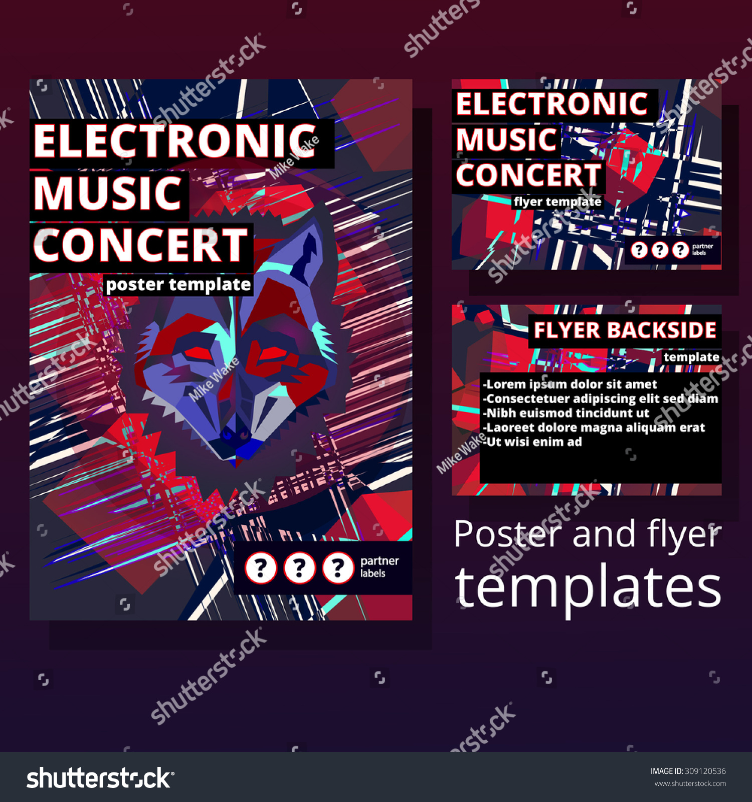 Abstract Electronic Music Concert Poster Geometric Vectores En ...