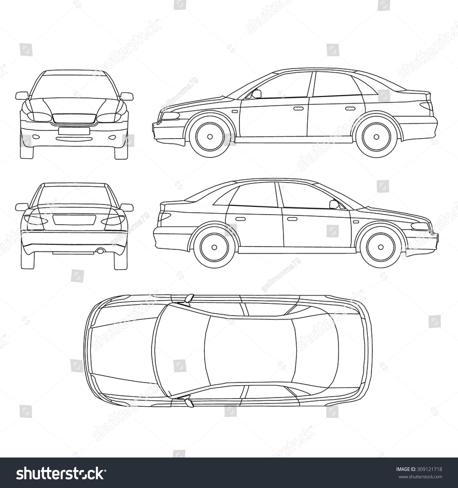 Car Line Draw Insurance Rent Damage Stock Vector 309121718