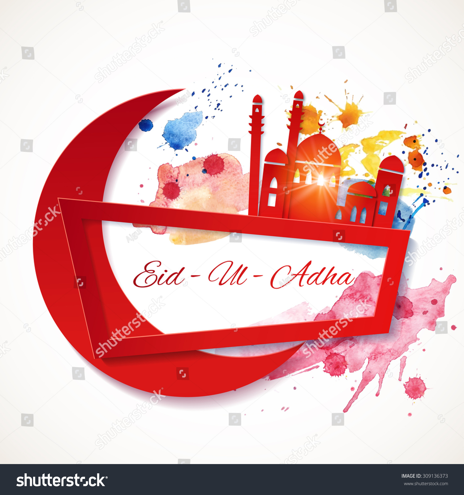 Eiduladha Banner Muslim Greetings Background Paper Stock Vector