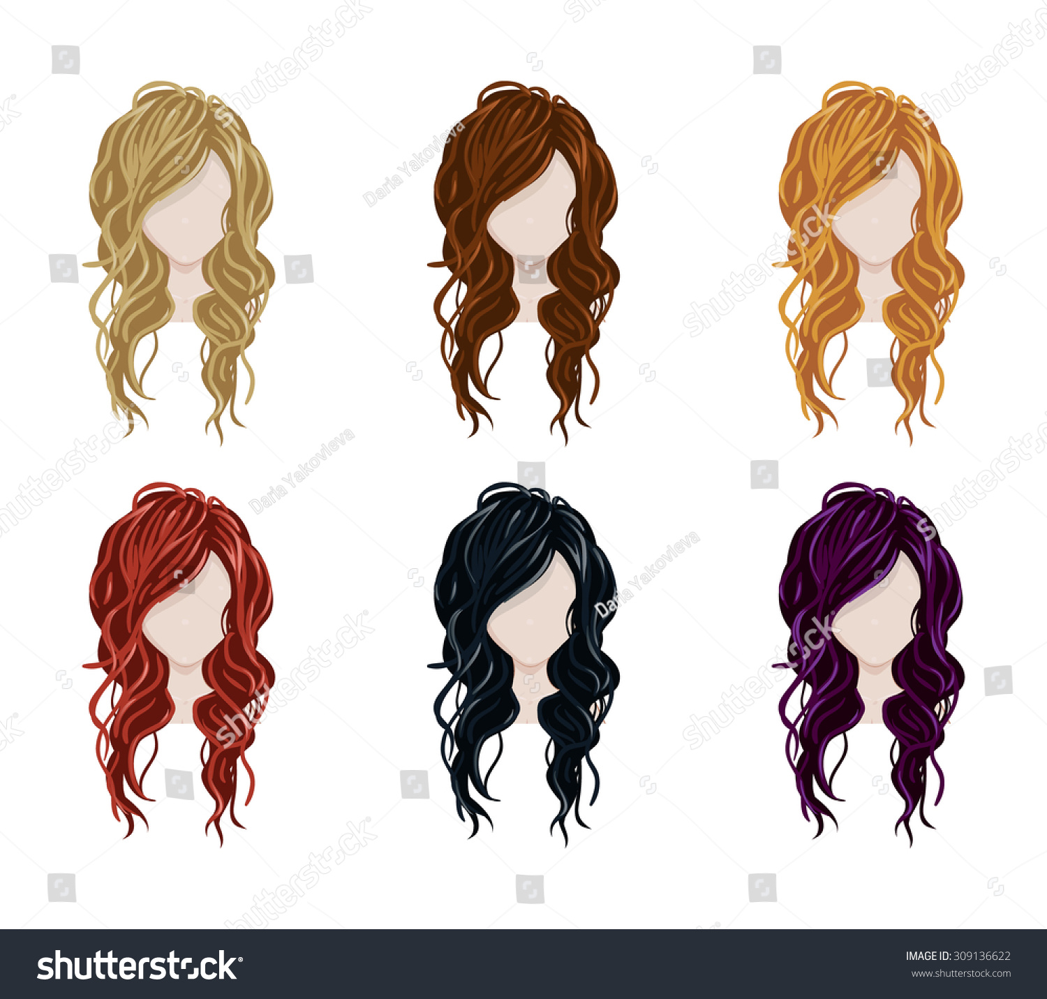 Vector Hairstyles: Set Female Hair Style Vector Collectiontrendy Stock Vector