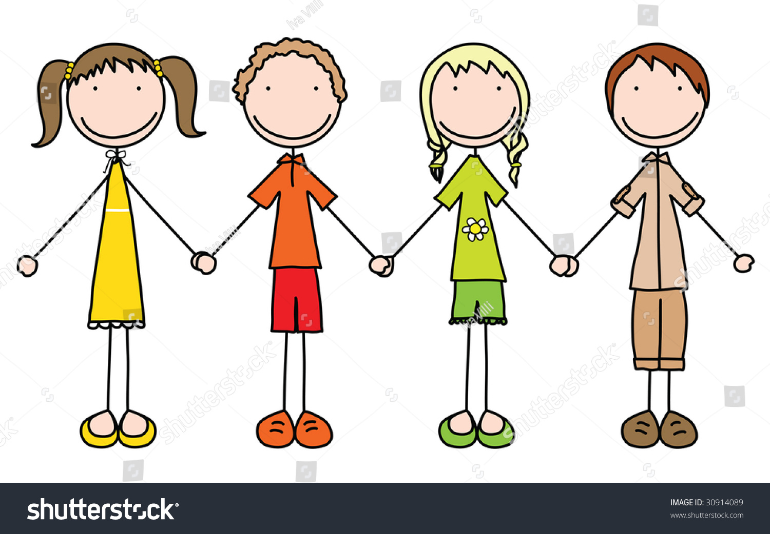 Illustration Of Four Kids Holding Hands In Summer Clothes