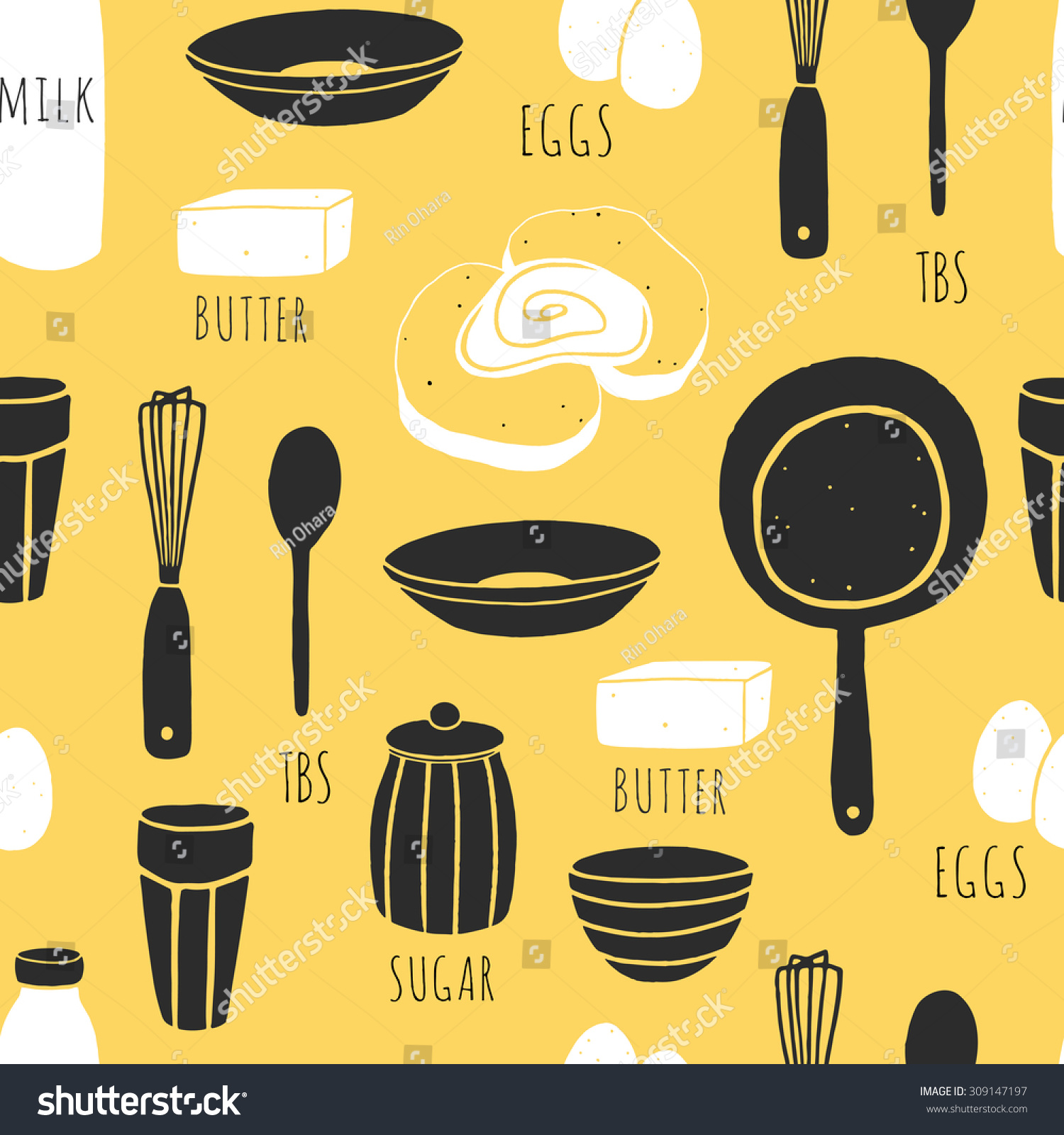 Hand Drawn Fabric Design With French Toast Ingredients Vector Cooking Background Doodle