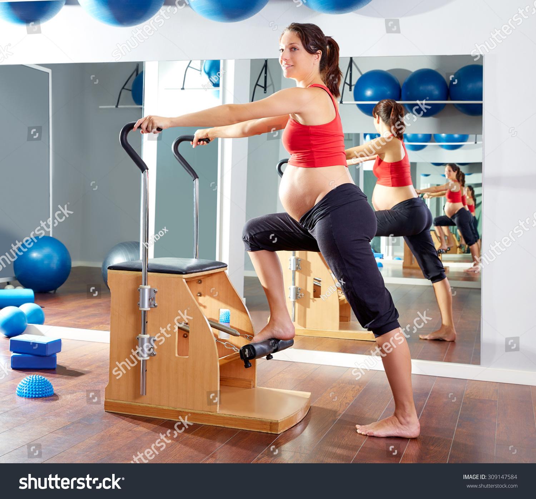 Woman Pilates Chair Exercises Fitness Stock Photo