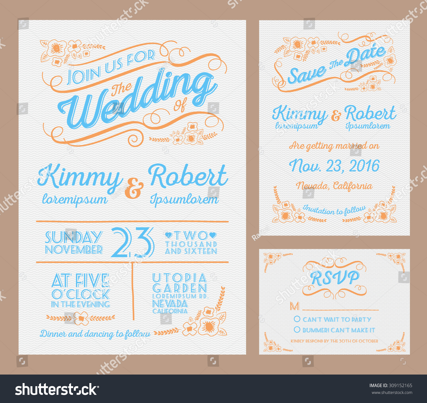 Letterpress Wedding Invitation Collection Package Include Stock ...